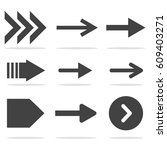 arrow icon set isolated on gray ... | Shutterstock .eps vector #609403271