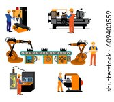 production process on the line... | Shutterstock .eps vector #609403559