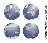 set of earth globe with... | Shutterstock .eps vector #609405881