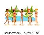 young woman in bikini sunbathe... | Shutterstock .eps vector #609406154