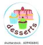 desserts sticker. vector... | Shutterstock .eps vector #609406841