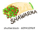 shawarma sticker. vector... | Shutterstock .eps vector #609410969