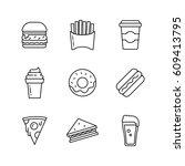 fast food icon set. takeaway... | Shutterstock .eps vector #609413795