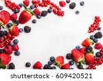 various fresh summer berries.... | Shutterstock . vector #609420521