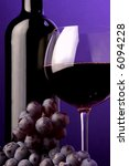 red wine grape glass bottle details - stock photo