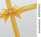 gold gift bow and ribbon. | Shutterstock .eps vector #609424331