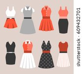 set of woman's dress in vintage ... | Shutterstock .eps vector #609432701