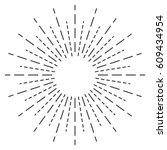 sun rays hand drawn  linear... | Shutterstock .eps vector #609434954