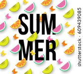 summer colorful background with ... | Shutterstock .eps vector #609439085