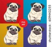 lovely pug puppy. cartoon... | Shutterstock .eps vector #609443255