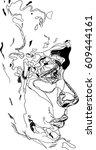 lines art face men. exclusive... | Shutterstock .eps vector #609444161