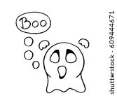 cute scary ghost emoticon say... | Shutterstock .eps vector #609444671