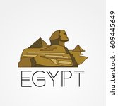 linear pyramid and sphinx the... | Shutterstock .eps vector #609445649