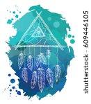 dreamcatcher amulet. ethnic... | Shutterstock .eps vector #609446105