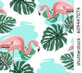 Pink Flamingo Birds  Blue Water ...