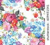 beautiful floral seamless... | Shutterstock . vector #609451541