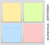 colorful office sticker note... | Shutterstock . vector #609455864