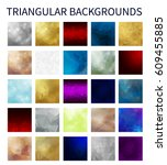 big set of colorful triangular...   Shutterstock . vector #609455885