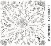 black hand drawn herbs  plants... | Shutterstock .eps vector #609456647