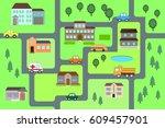 cartoon map seamless pattern. ... | Shutterstock .eps vector #609457901