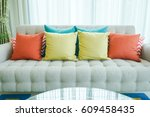 colorful pillows on sofa in... | Shutterstock . vector #609458435