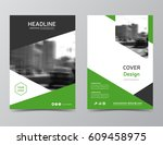 green annual report cover ... | Shutterstock .eps vector #609458975