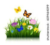 summer flowers with butterfly... | Shutterstock .eps vector #609464099