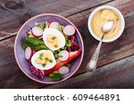 healthy salad with eggs and... | Shutterstock . vector #609464891