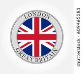 uk flag round icon or badge.... | Shutterstock .eps vector #609465281