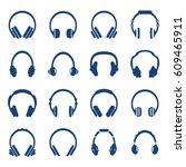 vector headphones icon set.  | Shutterstock .eps vector #609465911