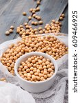 soy beans in a bowl on wooden... | Shutterstock . vector #609466925