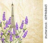souvenir card with eiffel tower.... | Shutterstock .eps vector #609468665