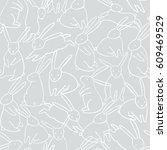 vector rabbit seamless pattern. ...   Shutterstock .eps vector #609469529