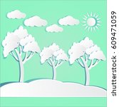 paper cut beautiful landscape.... | Shutterstock .eps vector #609471059