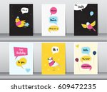 set of birthday card on retro... | Shutterstock .eps vector #609472235