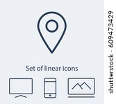 map pointer  linear icon. one...