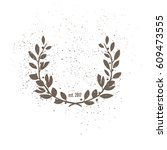 laurel wreath vintage ornament | Shutterstock .eps vector #609473555