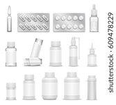 white blank medicine... | Shutterstock .eps vector #609478229