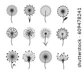 dandelion flowers with fluffy... | Shutterstock .eps vector #609478241