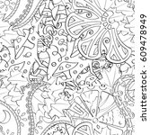 tracery seamless pattern.... | Shutterstock .eps vector #609478949