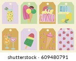 set of stickers with ice cream... | Shutterstock .eps vector #609480791