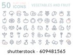 set  line icons in flat design... | Shutterstock . vector #609481565