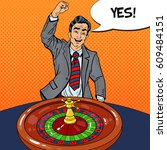 happy man behind roulette table ... | Shutterstock .eps vector #609484151