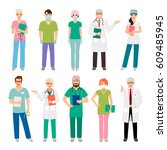 medical staff standing people... | Shutterstock .eps vector #609485945
