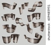 old 3d movie film strip  foto... | Shutterstock .eps vector #609485951