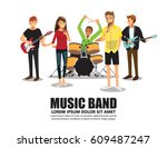 music band on stage | Shutterstock .eps vector #609487247