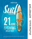 summer sale design with surf... | Shutterstock .eps vector #609487349