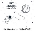 cute spaceman fly with balloon... | Shutterstock .eps vector #609488021