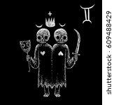 gemini zodiacal symbol.... | Shutterstock . vector #609488429