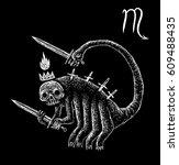 scorpio zodiacal symbol.... | Shutterstock . vector #609488435